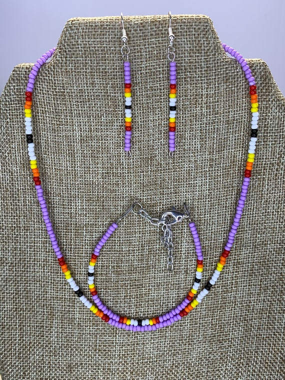 Lavender Sunset Necklace, Bracelet and Earring Set