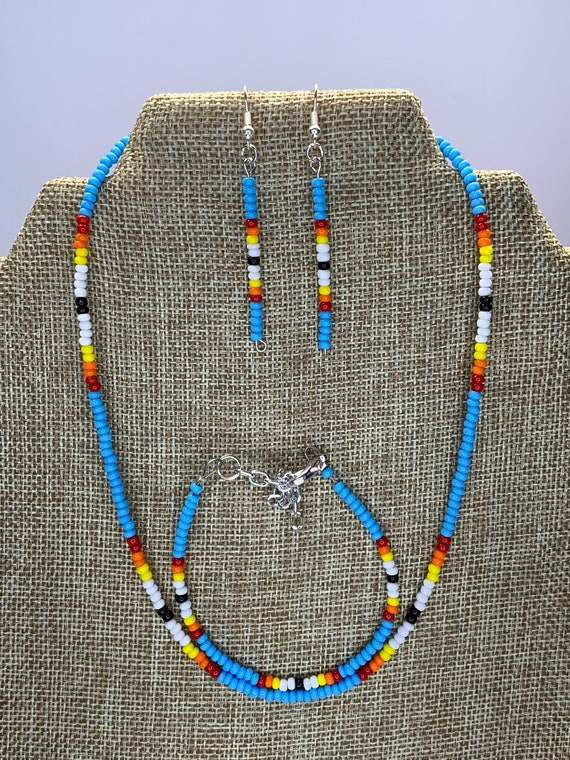 Light Blue Sunset Necklace, Bracelet and Earring Set