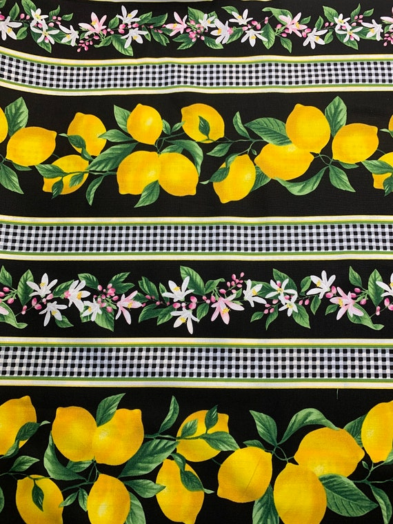Timeless Treasures Lemon Border Print
