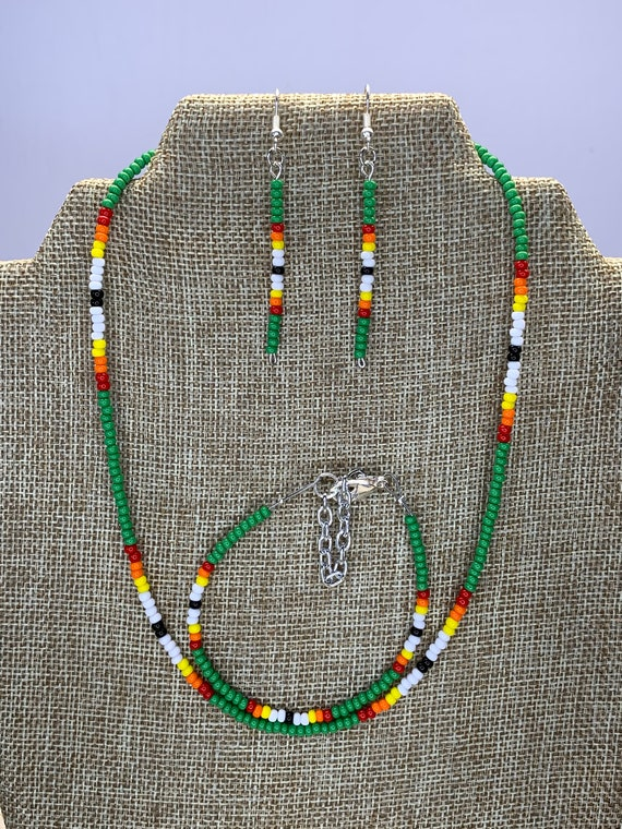 Dark Green Sunset Necklace, Bracelet and Earring Set