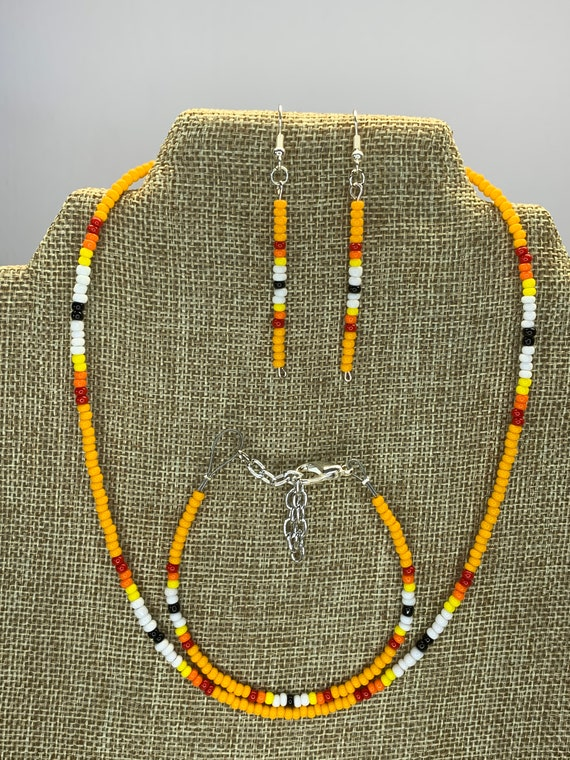 Orange Sunset Necklace, Bracelet and Earring Set