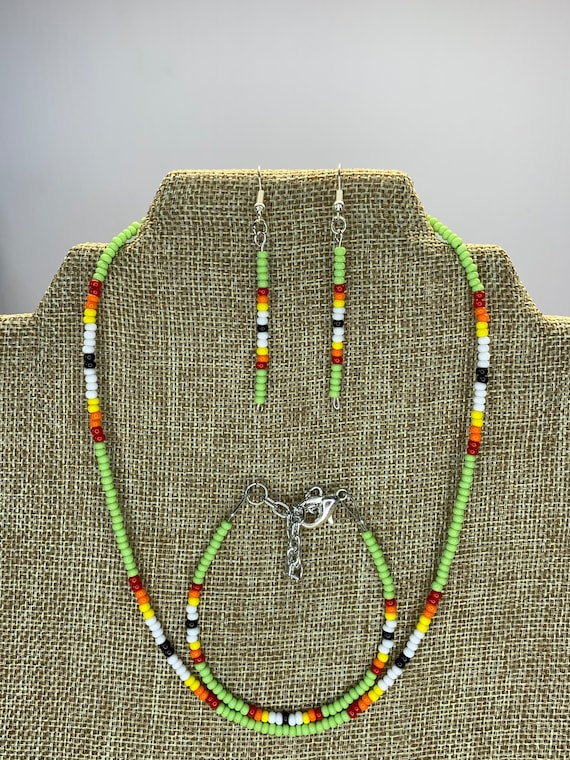Light Green Sunset Necklace, Bracelet and Earring Set