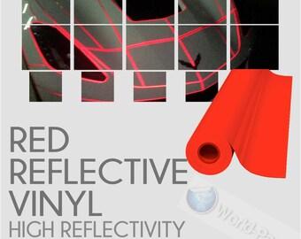 "Orange Reflective Vinyl Adhesive Sign Plotter High Reflectivity 12/""x 5 Feet"