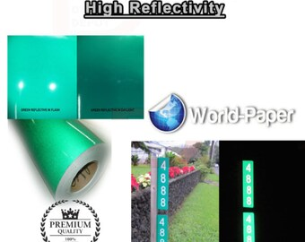 "Green Reflective 24/""x 50 Feet Vinyl Adhesive Sign Plotter Hight Reflectivity"