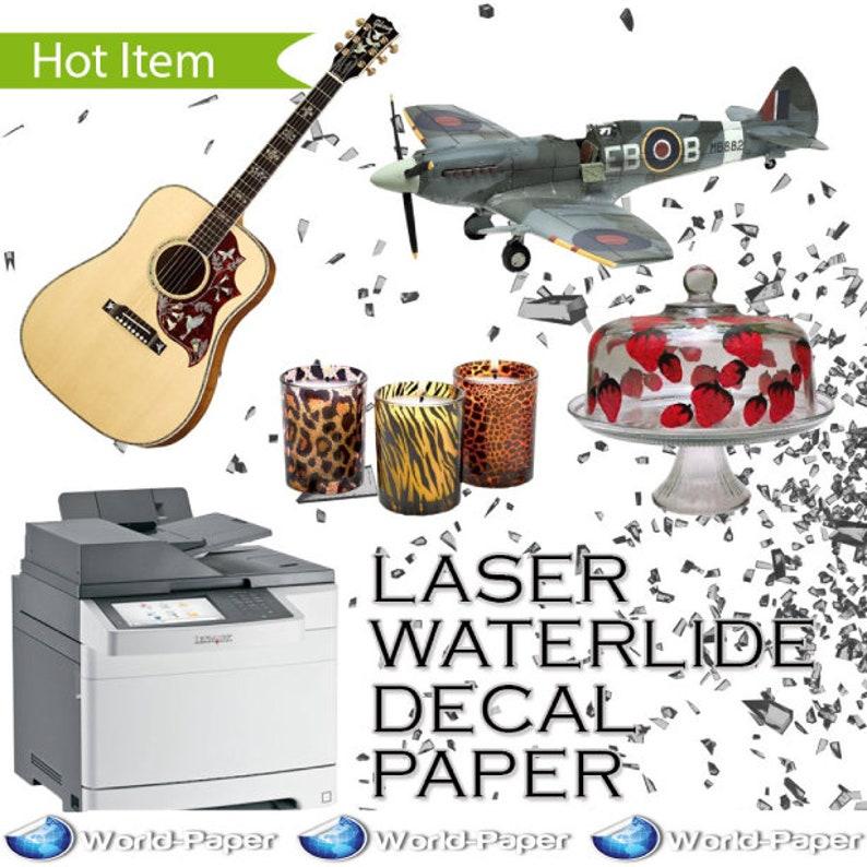 "30 Sh 8.5/""x11/"" Inkjet Printable Water Slide Decal Transfer Paper CLEAR"