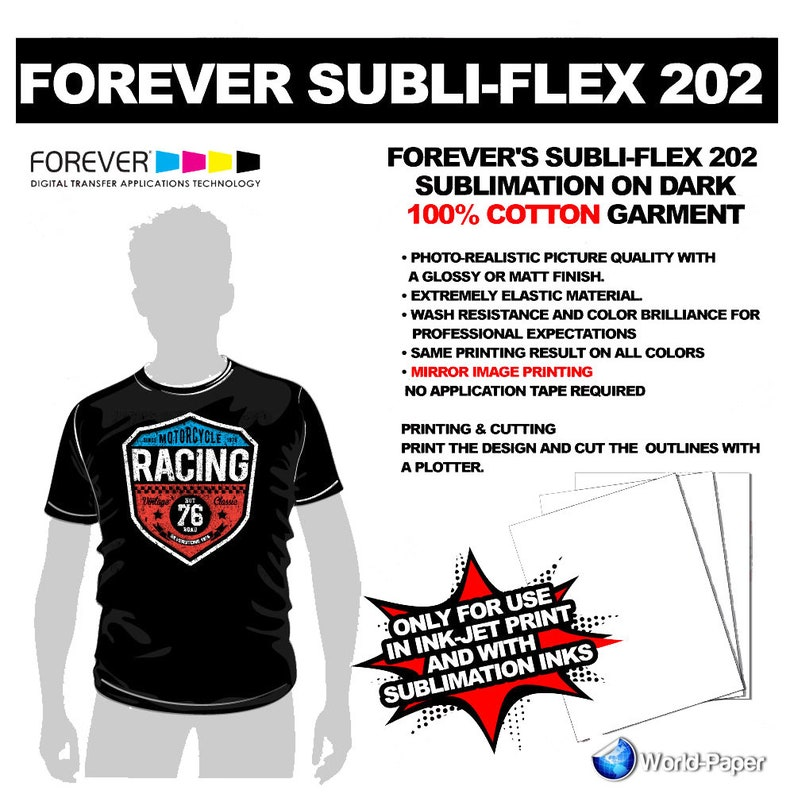 Sublimation Paper For Cotton Forever Subli Flex 202 Dark T Shirts