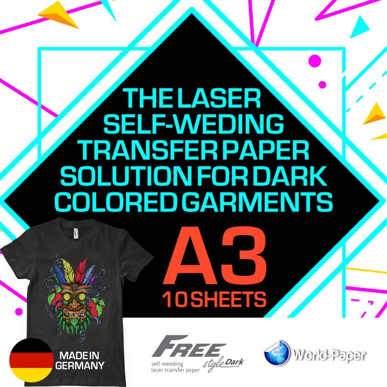 Laser Iron-On TRIM FREE Heat Transfer Paper Light fabric FreeStyle A4 Size