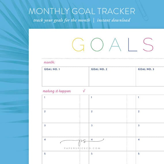 printable monthly goal tracker diy monthly goal etsy