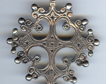 CINI LARGE VINTAGE ornate sterling silver cross pendant