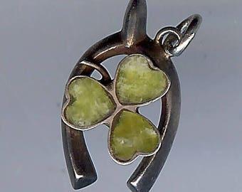 VINTAGE English LUCKY STERLING wish bone with Connemara three leaf clover charm
