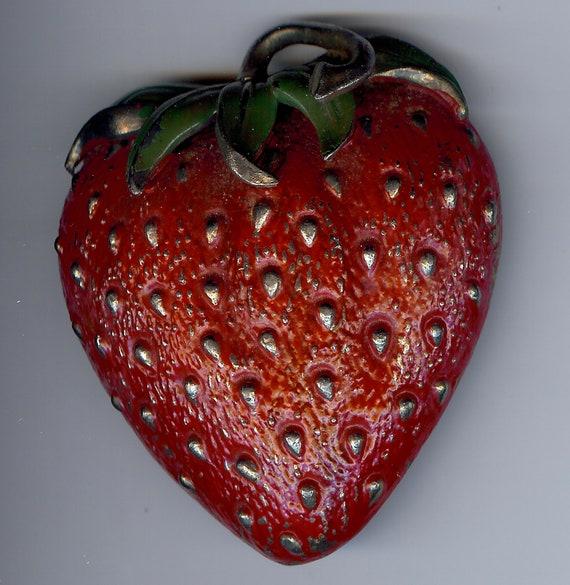 AMAZING HUGE VINTAGE enamel strawberry fur clip po