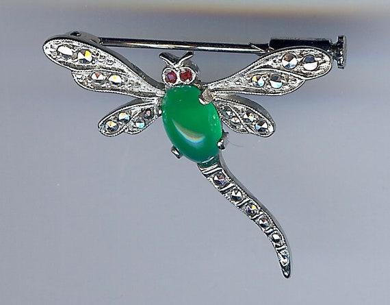 FRENCH HALLMARKED VINTAGE sterling silver chrysoprase marcasite dragonfly pin