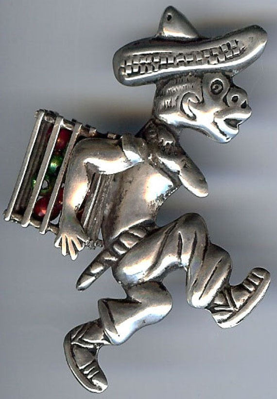 Comical Vintage MEXICAN Sterling SIlver RUNNING MA