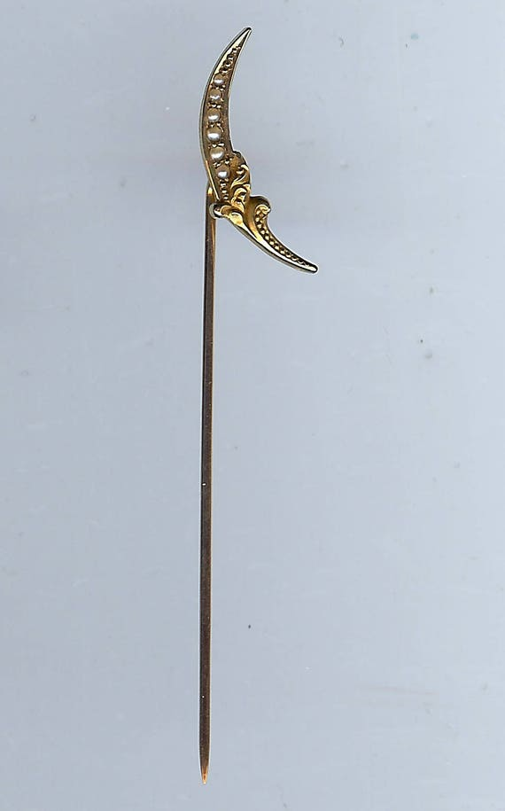 ANTIQUE VICTORIAN 10K gold & pearl crescent MOON s
