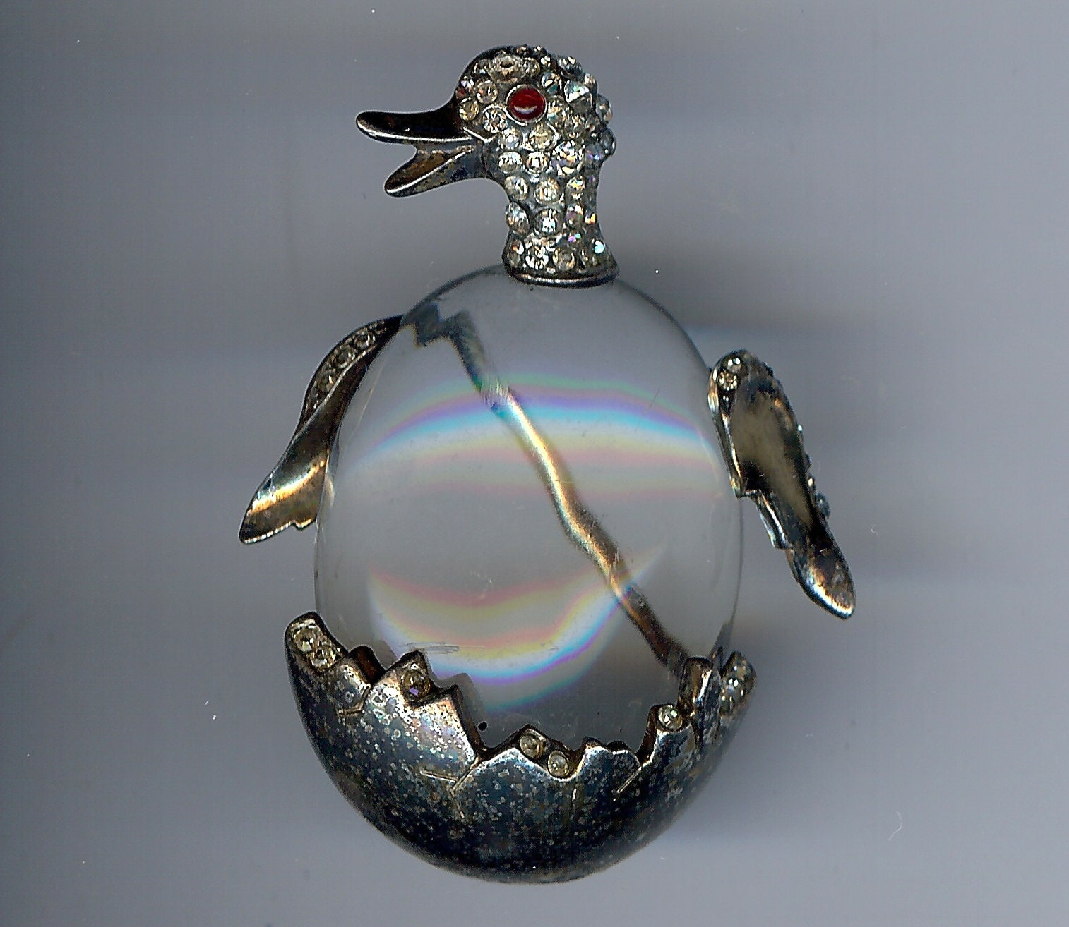 Vintage 1940s Rhinestone Eye Duck Jelly Belly Trifari-style Sterling Silver Brooch Pin Clear Lucite RARE