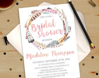 Boho Chic Watercolor Feathers Bridal Shower Bachelorette Party Invitation Printable DIY No. I284