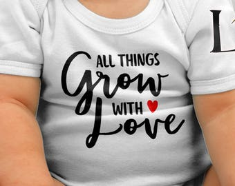 Kids   All things grow with love Kids Bodysuit DTG Printing on Demand