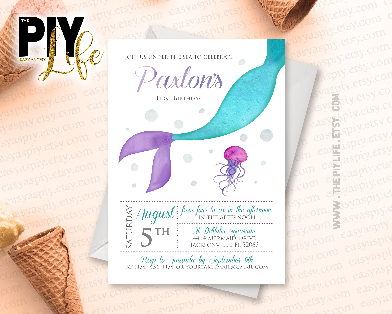 Watercolor Siren Mermaid Under The Sea Birthday Invitation | Etsy