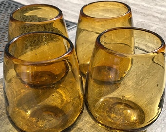 Amber Stemless Wine Glasses Recycled Glass Hand Blown  (Set of 4 or 6) Artisan Crafted Cabo Beach Style Margarita or Cocktail Glasses
