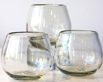 Hand Blown Recycled Glass Roli Poli Glasses Cocktail Glasses Stemless Wine Glass Bourbon Bohemian Style Eco Friendly (Set of 4 or 6) 9 oz.