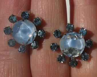 WEISS Blue Rhinestone /& Givre Glass Screw Back Earrings Vintage Diamond Shaped Earrings Pale Blue Givre Glass Screw Backs