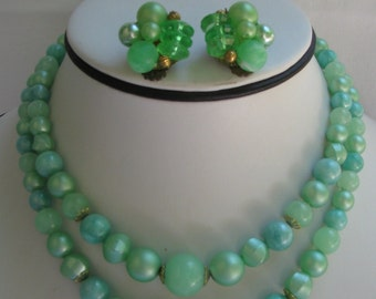 Vintage Minty Green Plastic Beaded Demi Parure, Double Strand Necklace and Matching Cluster Filigree Backed Clip Earrings, Hong Kong