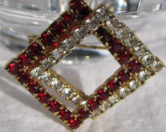 "Interesting Mid Century Double Crossed Square Ruby Red and Clear Rhinestone Brooch, 1 & 3/8"", Intertwining"
