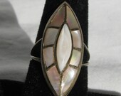 Outstanding RAYMOND YAZZIE Hallmarked Large Face Window Frame Mother of Pearl Inlay Sterling Silver Ring, 1.25 quot Dome, Size 7-7.25, Navajo