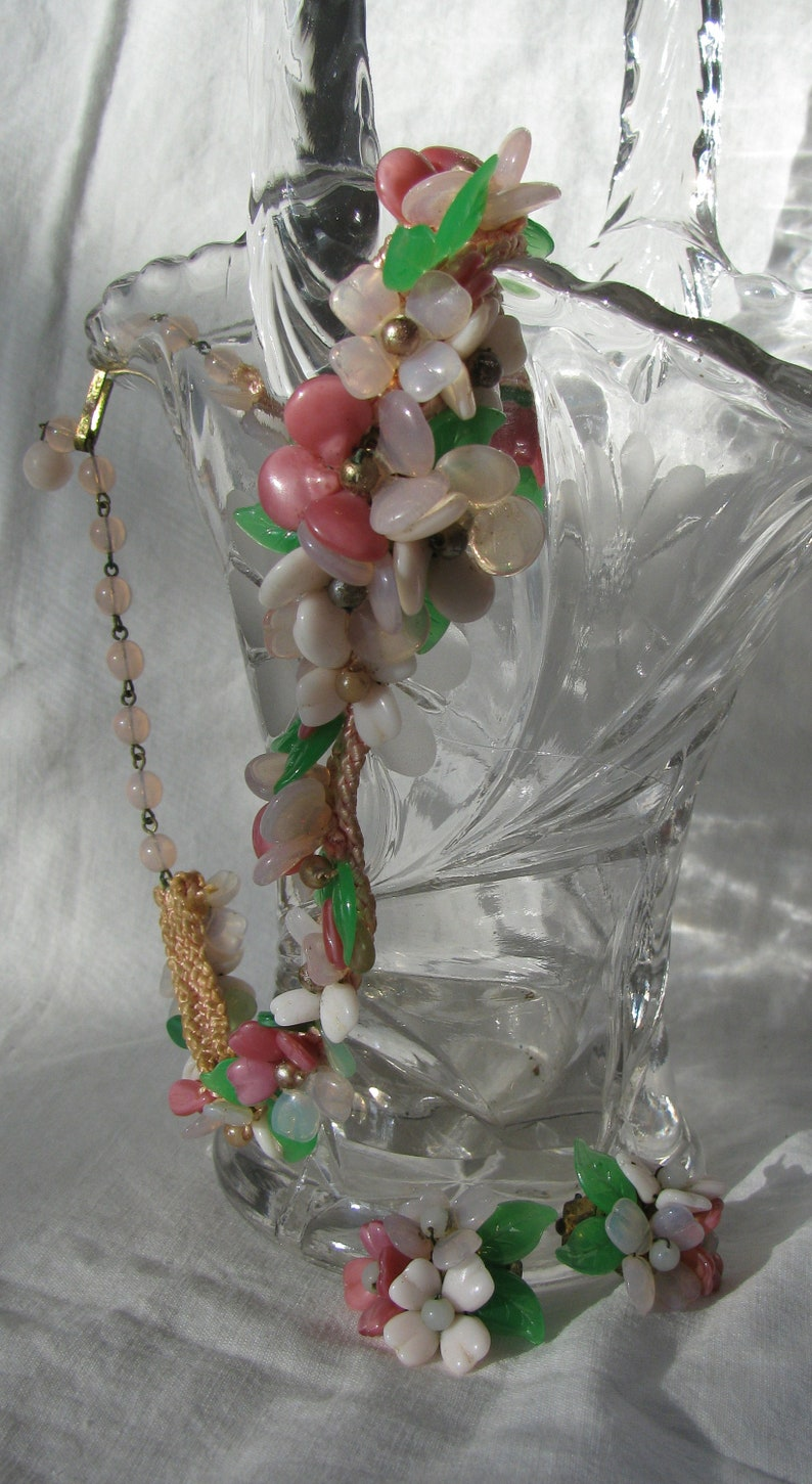 West Germany Made Vintage and Sweet Pastel Plastic Flower Demi Parure 16 Choker Adjustable Necklace and Clip Earrings 1940/'s Delicate