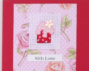 Cupcake 'With Love' cross stitch original handmade card with sequin detail