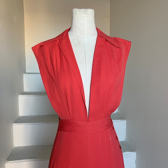 Swing 1940s Coral Rayon Pinafore WWII Swing Dance