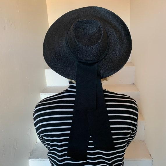 Gorgeous Inky Black Fine Straw Structured Wide Bri