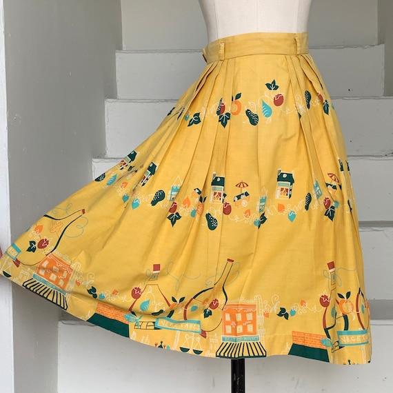 1950s Novelty Print Skirt Shopping Food Fruit Swee