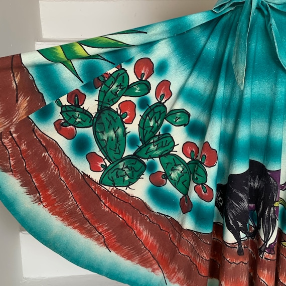Gorgeous and Bold 1950s Mexican Tourist Skirt Cact