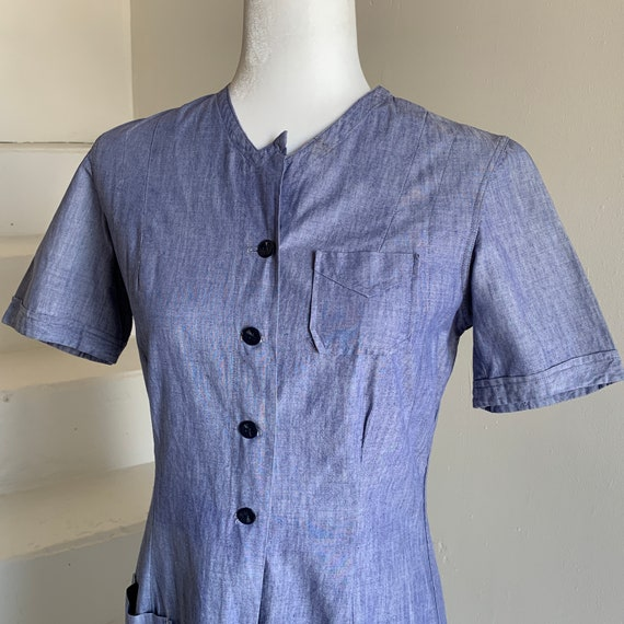 1930s Chambray Dress Uniform Dress Day Dress 36 Bu