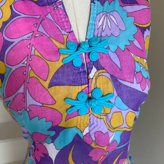 1960s Floral Psychedelic Two Piece Pants and Tunic