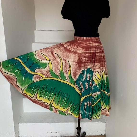 1950s Hand Painted Mexican Tourist Skirt Monstera