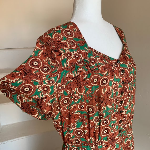 Voluptuous 1940s Rayon Print Dress with Flounce an