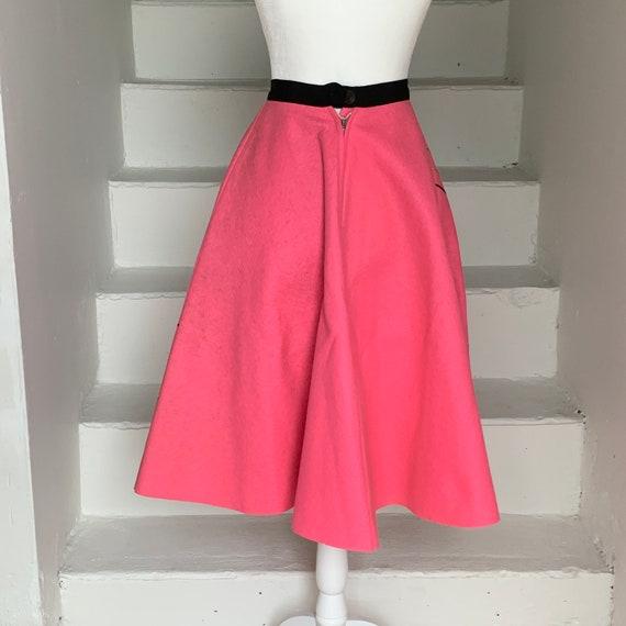 RARE 1950s Comedy and Tragedy Felt Circle Skirt Wool Felt Vintage 25 Waist