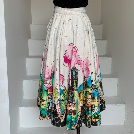 1950s Mexican Hand Painted Circle Skirt Sequined C