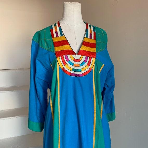 Fab 1980s Caftan Cotton Ethnic Embroidery Ribbon I