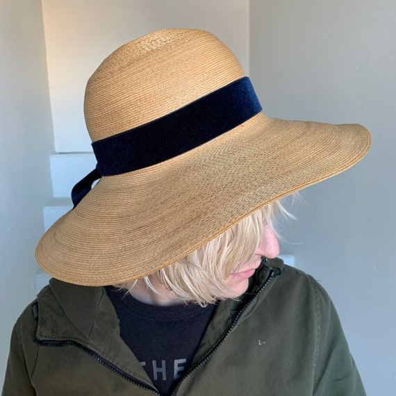 1940s Finely Woven Straw Sun Hat Blue Velvet Bow S