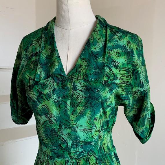 1950s Rayon City Print Shirt Dress 36 Bust Novelty