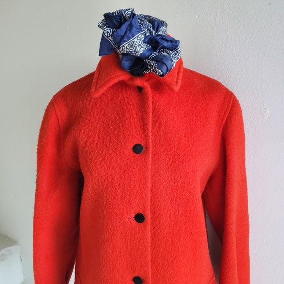Brilliant Red 1950s Hudson Bay Coat 36 Bust Vintag