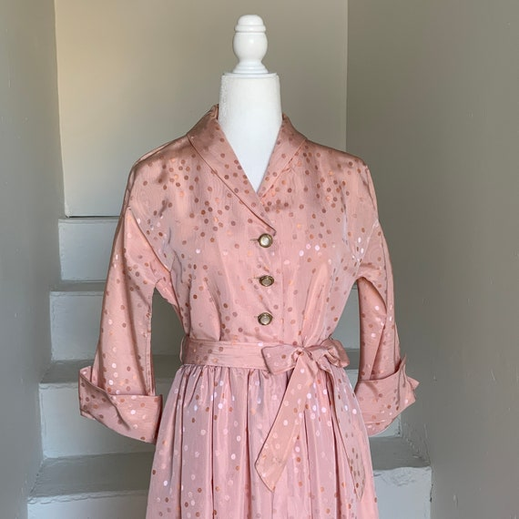 Lovely 1940s Pink Dotted Hostess Robe by Paulette