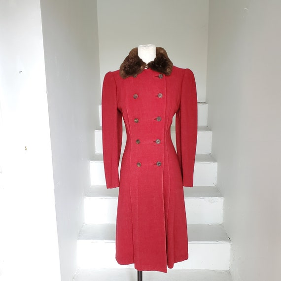 1940s Hourglass Fitted Princess Coat Red Wool Mout