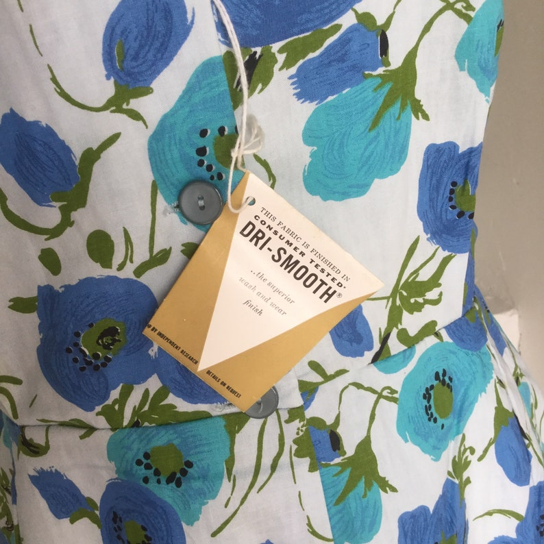1960s Floral Romper NOS Unworn Tags On Cotton Floral Vintage 42 Bust