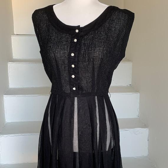 R/&K Originals Black Cotton Voile Dress circa 1950\u2019s