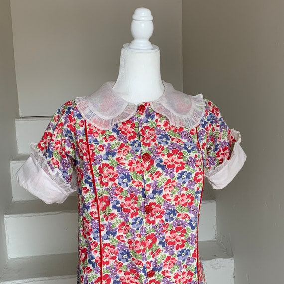 1930s Dainty Floral Day Dress House Dress Cotton D