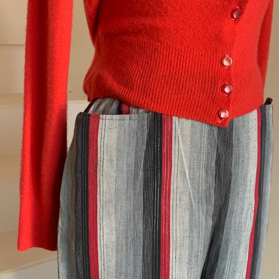 1950s Bad Girl Cropped Jeans Striped Cotton Pants